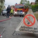 Beschädigte Gasleitung bei Baggerarbeiten in Weimar
