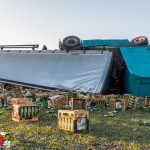 LKW mit Bierkisten verunfallt auf der A 4 bei Eichelborn