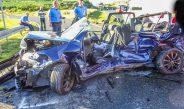Schwerer Verkehrsunfall mit eingeklemmter Person bei Dorna