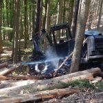 Holzerntemaschine mitten im Wald bei Bad Salzungen abgebrannt