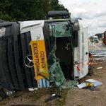 LKW-Unfall auf der A4 bei Hermsdorf mit eingeklemmter Person