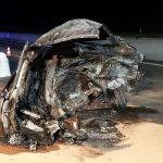 Horrorcrash auf A9 bei Lederhose – Auto zerfetzt und ausgebrannt