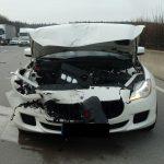 Maserati nach Verkehrsunfall auf A9 bei Triptis nur noch Schrott