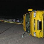 Vollsperrung der A4 nach Unfall mit Autotransporter bei Erfurt