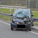 Smart kracht in abgestellten LKW auf Parkplatz bei Eisenberg