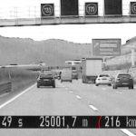 Mit 216 km/h kurz vor dem Tunnel auf A4 bei Jena erwischt