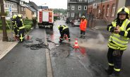 Feuerwehren beseitigen Unwetterschäden nach starken Regenfällen