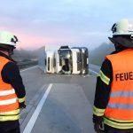 LKW umgestürzt: Unfall auf A38 im Eichsfeld legt Verkehr lahm