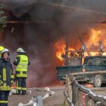 Lagerhalle auf dem Gelände der Heidelbeerplantage bei Blankenhain abgebrannt