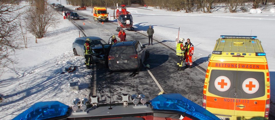 Zwei Rettungshubschrauber nach Unfall bei Großbreitenbach im Einsatz