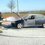 Auto auf A38 am Rastplatz Kesselberg bei Nordhausen ausgebrannt