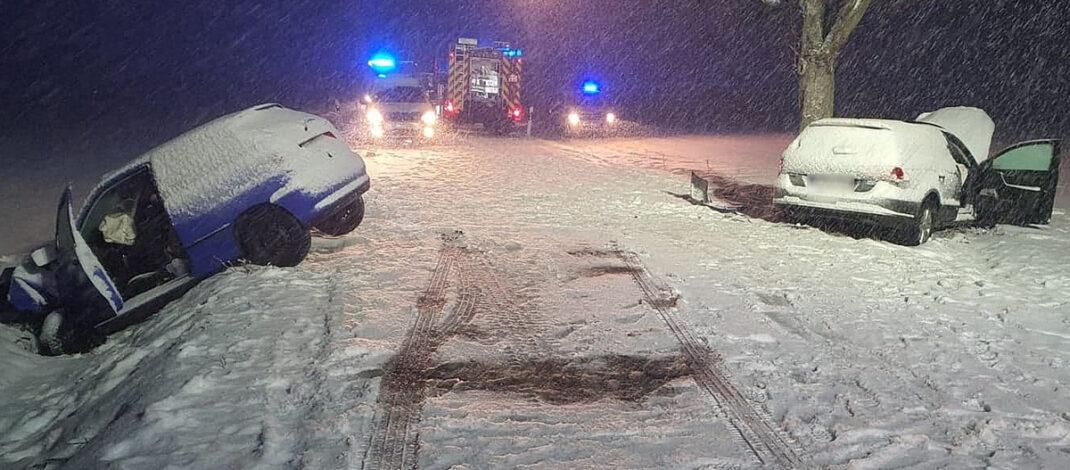Zwei Verletzte bei Unfall auf verschneiter Straße nahe Bad Frankenhausen
