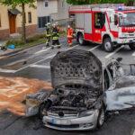 Fahrzeugbrand in Erfurt-Linderbach fordert lange Vollsperrung stadtauswärts