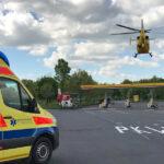 Zwei Rettungshubschrauber bei Unfall auf A4 nahe Raststätte Hörselgau im Einsatz
